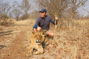 David with Lion on Africa Gay Men Tours