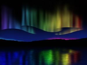 Northern lights (Aurora borealis) reflection across a lake